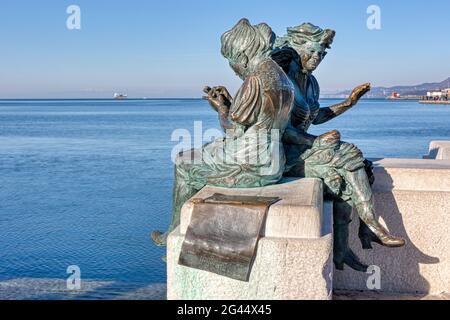 Bronze figures, Scala Reale, Molo Audace, Trieste, Friuli-Venezia Giulia, Italy