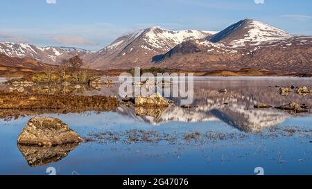 Spring Sunrise over Lochan na h-achlaise on Rannoch Moor near the entrance to Glencoe in the Scottish Highlands