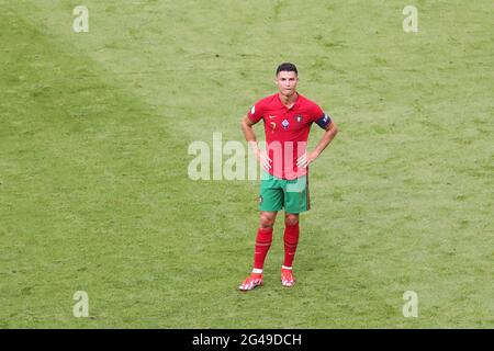 Munich, Germany. 19th June, 2021. Cristiano Ronaldo of Portugal reacts during the UEFA Euro 2020 Championship Group F match between Portugal and Germany in Munich, Germany, June 19, 2021. Credit: Shan Yuqi/Xinhua/Alamy Live News