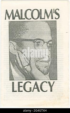 A pamphlet about Malcolm X (1925-1965), African-American Muslim minister and human rights activist during the civil rights movement. He was assassinated while preparing to speak at the Audubon Ballroom in Manhattan. The interior consists of five pages of text. The inside back cover has a tear away section with a form that could be filled out to join the Young Communist League. The back of the pamphlet is blank.
