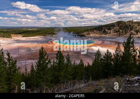 Grand Prismatic Spring in Midway Geyser Basin Yellowstone National Park, Wyoming