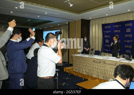 Tokyo, Japan. 25th June, 2021. Kazuto Ioka, Professional Boxer and WBO Super Flyweight Champion, held a press conference at the Foreign Correspondents' Club of Japan on the doping issue with the Japan Boxing Commission. on June 25, 2021 in Tokyo, Japan. (Photo by Kazuki Oishi/Sipa USA) Credit: Sipa US/Alamy Live News
