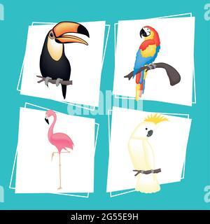 Cute birds cartoons set on blue background