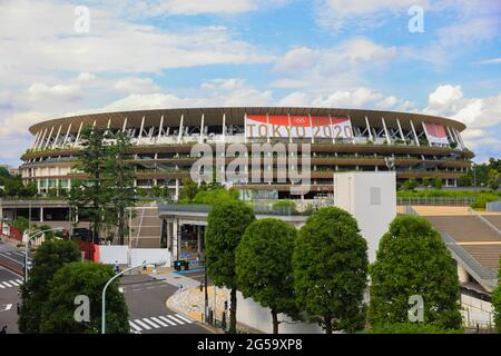 Tokyo, Japan. 25th June, 2021. A view of the Olympic Stadium with Tokyo 2020 Olympic Games branding. Credit: SOPA Images Limited/Alamy Live News