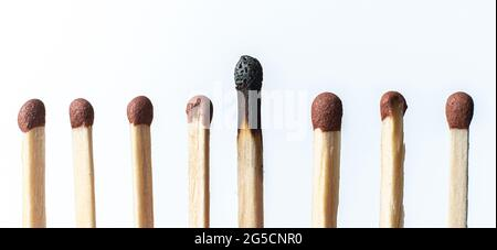 a single unique wooden match among the other regular ones, the teamwork idea