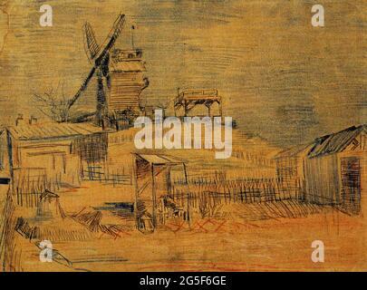 Vincent Van Gogh -  Gardens Montmartre Blute Fin Windmill 1887