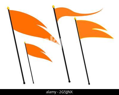 Hindu flag. Hindu triangular flag saffron color. RSS flag.