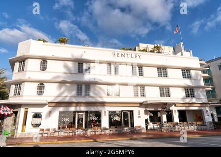 Miami, USA - April 15, 2021: Bentley hotel on Ocean Drive street in Florida