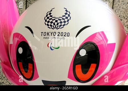 Tokyo, Japan. 25th June, 2021. An official character from the Olympic and Paralympic Games 2020 on display at the Tokyo Metropolitan Government Credit: James Matsumoto/SOPA Images/ZUMA Wire/Alamy Live News