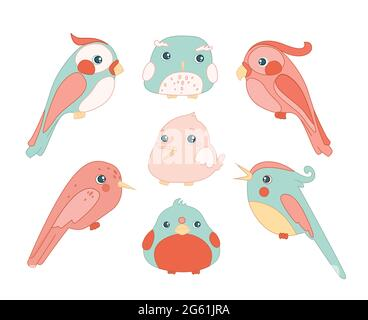Cute birds color set cartoon flat vector illustration isolated on white background