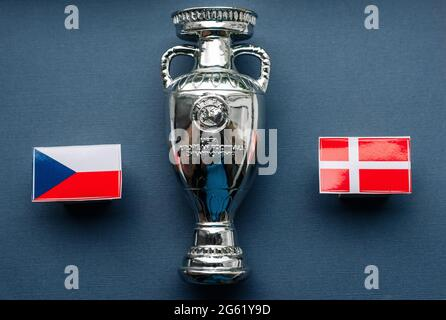 July 1, 2021 Baku, Azerbaijan. Flags of the Czech and Danish European Football Championship quarterfinals participants against the backdrop of the Eur