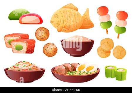 Rice in bowl, soup ramen with noodles and eggs. Traditional japanese food cooked from rice. Vector cartoon set with sushi, taiyaki fish, chips, dango,