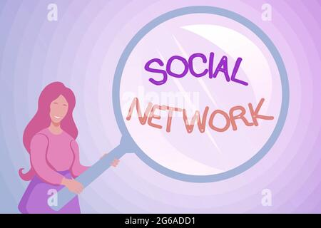 Conceptual display Social Network. Conceptual photo a framework of individual linked by interan individualal relationship Abstract Investigation And