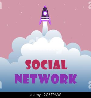 Conceptual display Social Network. Word Written on a framework of individual linked by interan individualal relationship Abstract Reaching Top Level