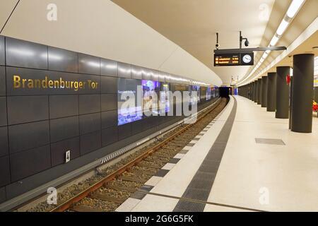 underground station in the new station 'Brandenburger Tor' of the underground line U5 , Germany, Berlin