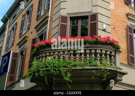 Beautiful balcony with windows and flowers. Brown building facade with windows reflexed with sky, and shutters in downtown