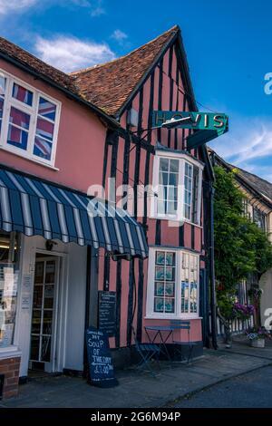 Grand timber framed bakery shop with hovis sign on Market Lane Lavenham Suffolk England