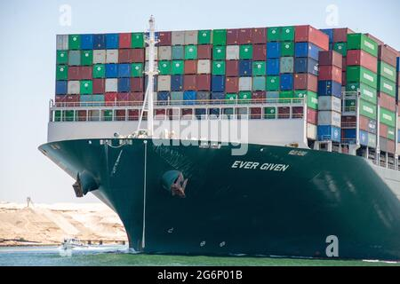 Suez Canal, Egypt - 7 July 2021 - The huge container ship Ever Given that blocked the Suez Canal  in March 2021 is free at last and enroute to Rotterdam after a compensation agreement was made between the Suez Canal Authority and Shoei Kisen Kaisha, the Japanese ship owners.  The SCA head Osama Rabie declared, 'I announce to the world that we have reached a deal.'  The Ever Given was freed from blockage in a salvage operation that lasted 6 days, however in that short amount of time it created a traffic jam backlog of 420 ships at the chokepoint in just the first 4 days.