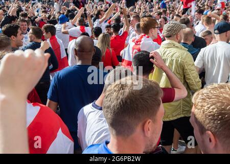 London, UK. 7th July 2021. England fans excited prior to the UEFA Euro 2020 Semi-Final match between England and Demark at Wembley Stadium. Michael Tubi / Alamy Live News