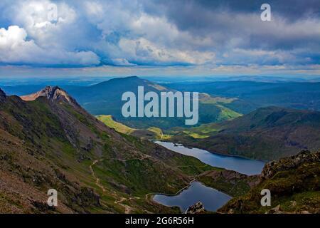 View of Llyn Lydaw and Llyn Glaswyn from the Llanberis path to the summit of Mount Snowdon