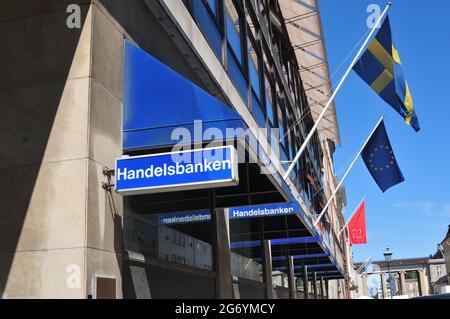 Copenhagen /Denmark./ 14.June 2019/ .Swedish Embassy and Swedish Handelsbanken  have smae adress in same building Amaliengade in Copenhagen Denmark and swedish flags fly along wit european union blue flag with star on building in Copenhagen Denmark. (Photo..Francis Dean / Deanpictures.