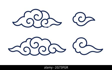 Traditional Chinese or Japanese clouds with spiral swirls. Oriental motif design element set. Vector clip art illustration.