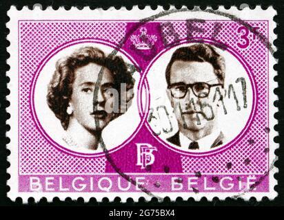 BELGIUM - CIRCA 1960: a stamp printed in the Belgium shows King Baudouin and Queen Fabiola, Wedding of King Baudouin and Dona Fabiola de Mora y Aragon