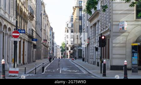The quiet streets of the City of London in the morning. London - 11th July 2021
