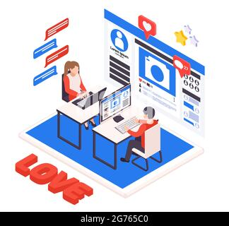 Virtual relationship isometric composition with young couple dating online with laptop desktop love heart symbols vector illustration