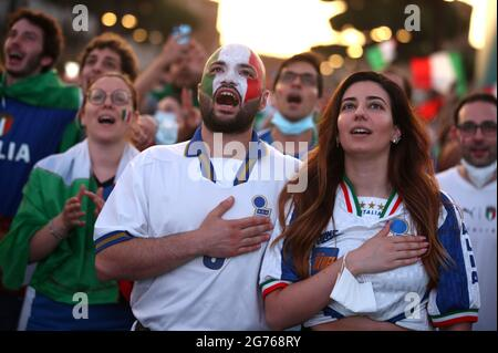 Soccer Football - Euro 2020 - Final - Fans gather for Italy v England - Rome, Italy - July 11, 2021 Italy fans before the match REUTERS/Yara Nardi