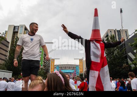 Wembley, London, England. 11th July 2021. England fans outside Wembley Stadium before the England vs Italy Euro 2020 final. Credit: Jessica Girvan/Alamy Live News