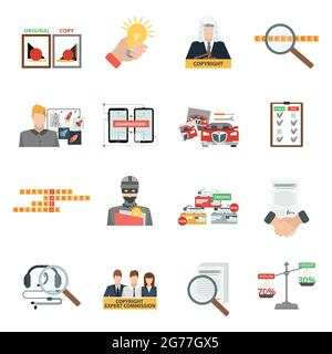 Criminal copyright law compliance and intellectual property piracy theft penalties flat icons collection abstract isolated vector illustration