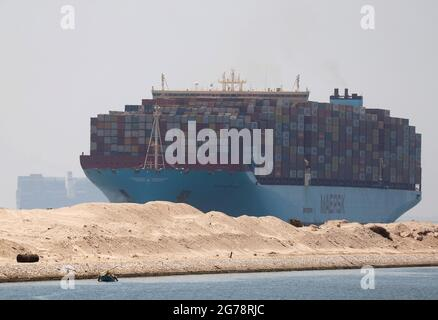 A Maersk Line container vessel moves through the Suez Canal in Ismailia, Egypt July 7, 2021. Picture taken July 7, 2021. REUTERS/Amr Abdallah Dalsh