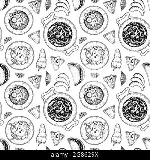 Mexican food seamless pattern with taco, nacho chips, fajitas. Vector illustration in sketch style