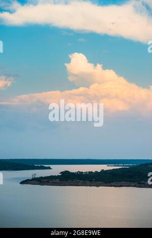 Kazinga channel linking lake george and lake Edward at sunset, Queen Elizabeth National Park, Uganda