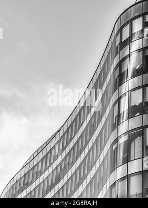 A black and white fine art photograph of modern architecture found in the Scottish city of Glasgow.