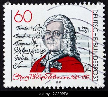 GERMANY - CIRCA 1981: a stamp printed in the Germany shows Georg Telemann, composer, circa 1981