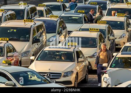 Berlin, Germany - September 15, 2018: Taxis at Berlin Tegel - Otto Lilienthal Airport Parking Lot, TXL, EDDT