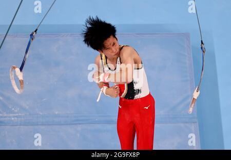 Tokyo 2020 Olympics - Gymnastics - Artistic - Men's Team - Final - Ariake Gymnastics Centre, Tokyo, Japan - July 26, 2021. Kazuma Kaya of Japan in action on the rings REUTERS/Athit Perawongmetha