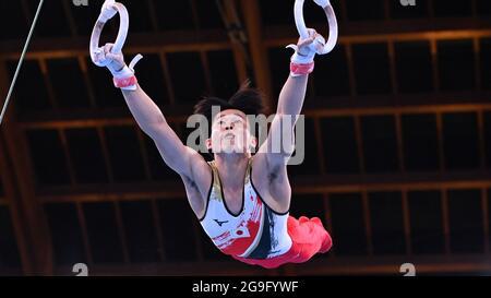 Tokyo 2020 Olympics - Gymnastics - Artistic - Men's Team - Final - Ariake Gymnastics Centre, Tokyo, Japan - July 26, 2021. Kazuma Kaya of Japan in action on the rings REUTERS/Dylan Martinez