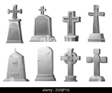 Cartoon stone grave crosses and gravestones, vector cemetery cracked graveyard tombstones. Ancient mausoleum tomb with skull, funereal architecture de