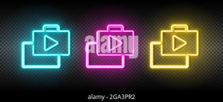bag, market, shop neon vector icon. Illustration neon blue, yellow, red icon set.
