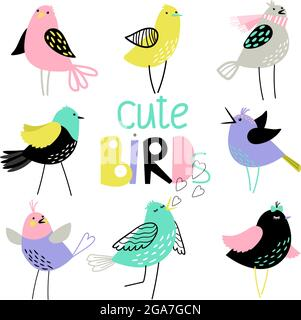 Cute set with different beautiful colored birds