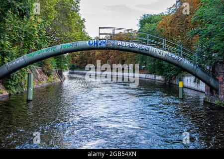 Pipes over the Landwehrkanal canal in Berlin-Kreuzberg,Germany