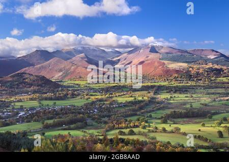 View from Latrigg summit towards fells of Causey Pike, Crag Hill and Grisedale Pike, also known as the Coledale Horseshoe. Lake District, England, UK