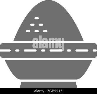 Rice in bowl, indian cuisine grey icon.