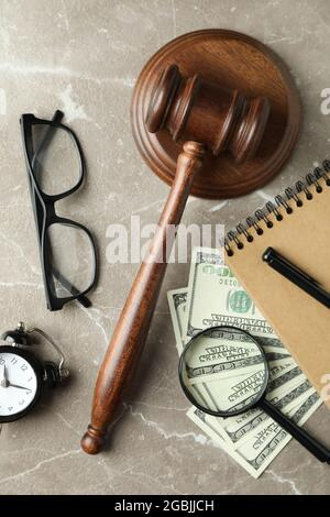 Law concept with judge gavel on gray textured table