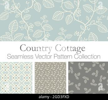 Fresh Spring Country Cottage Seamless Vector Patterns