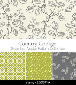 Charming Country Cottage Seamless Vector Patterns