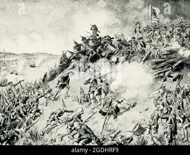 On June 17, 1775, early in the Revolutionary War (1775-83), the British defeated the Americans at the Battle of Bunker Hill in Massachusetts. Despite their loss, the inexperienced colonial forces inflicted significant casualties against the enemy, and the battle provided them with an important confidence boost during the Siege of Boston (April 1775-March 1776). Although commonly referred to as the Battle of Bunker Hill, most of the fighting occurred on nearby Breed's Hill.